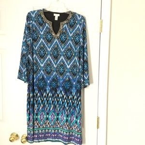 Chico's Sz 2 (12/14) Dress Blue, 3/4 sleeves